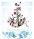 Chaoran 1 Fleece Blanket on Amazon Super Silky Soft All Season Super Plush Decor Collection Anchor with Roses Bed Living Dorm Wall Hanging