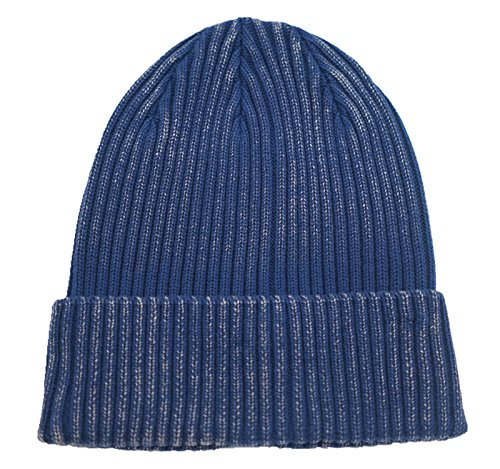 (Home Prefer Retro Winter Beanie Skull Cap Warm Rib Knit Cotton Hat Cuff Beanie for Men and Women Blue)