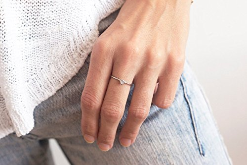Solitaire Diamond Ring, Trillion Cut diamond Ring, Trillion Diamond Band, Simple Wedding Band, 14k WHITE GOLD