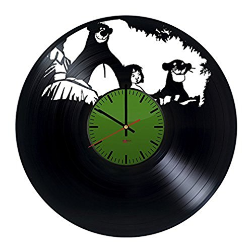 [Jungle Animals HANDMADE Vinyl Record Wall Clock - Get unique living room wall decor - Gift ideas for boys and girls – Movie Characters Unique Modern] (The Jungle Book Baloo Costume)