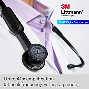 3M Littmann CORE Digital Stethoscope, Black Chestpiece, Tube, Stem and Headset, 27 inch, 8480