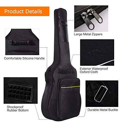 98f8257f3d1 ... CAHAYA [Upgraded Version] 41 Inch Acoustic Guitar Bag 0.3 Inch Thick  Padding Waterproof Dual ...
