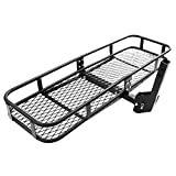 COOCHEER Sturdy Folding Cargo Carrier Basket 2'' Receivers Hitch Rack 60 x 20'' for SUV, MPV, CUV, etc - Easily Mounts to Trailer Towing Hitches