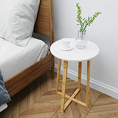 BAMEOS Side Table Modern Nightstand Round Side End Accent Coffee Table for Living Room Bedroom Balcony Family and Office (15.7inx23.4in) - 【RENEWABLE MATERIAL】 The surface is smooth enough with sturdy MDF panel material and UV paint, and the legs of the table are made of bamboo. Bamboo is one of the most environmentally friendly materials in the world. It can grow into bamboo for industrial use in five years. It is renewable, strong and durable. 【STURDY STRUCTURE】 The table legs are made of solid bamboo, a kind of durable and natural material. The table legs are crossed to form a solid angle so that the whole table can stand steadily no matter where it is. 【IDEAL HOME DECOR】 Designed with non-mar foot glides, this coffee table protects floor from scuffs, indentations, and other potential damages. - living-room-furniture, living-room, end-tables - 51Wj73IDYeL. SS400  -