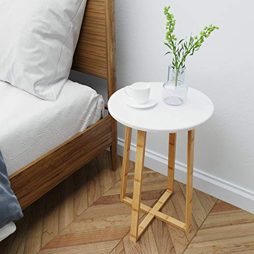 BAMEOS Side Table Modern Nightstand Round Side End Accent Coffee Table for Living Room Bedroom Balcony Family and Office (15.7inx23.4in) (French White Rattan Bed)
