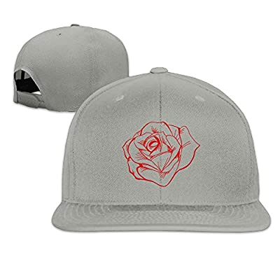Jusxout Vintage Rose Tattoo Washed Unisex Adjustable Flat Bill Visor Baseball Cap