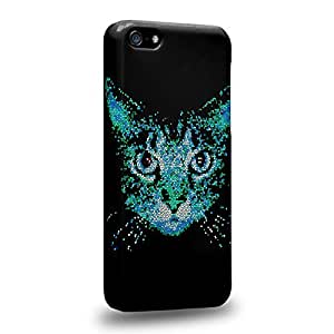 Case88 Premium Designs Art Collections Hand Drawing Animal Face Design Cat Face Blue Protective Snap-on Hard Back Case Cover for Apple iPhone 5c