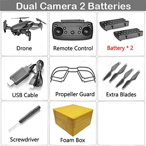 1080mp noir 2b Fb  ETC KART Drone Pliable Teeggi M69G FPV Selfie Dron avec caméra HD 1080 P WiFi positionneHommest Optique du débit quadrirougeor VS VISUO XS809HW X12 (4K blanc 3B FB)