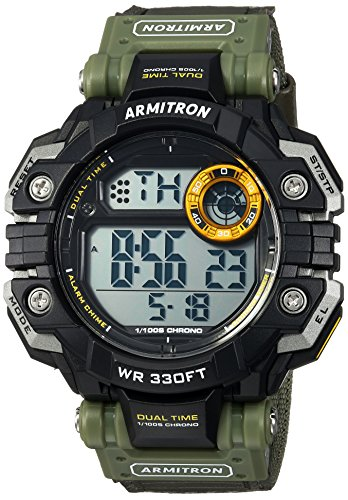 Armitron Sport Men's 40/8400GRN Digital Chronograph Olive Green Resin Strap Watch