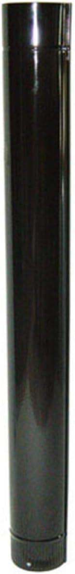 WOLFPACK LINEA PROFESIONAL 22011032 Wolfpack Tubo Acero Vitrificado Ideal Estufas de Leña, Chimenea, Alta resistencia, Color Negro, Ø 175 mm sin llave