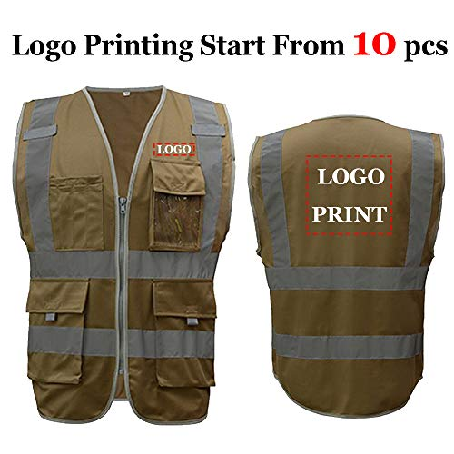 Khaki Safety Vest With Custom Logo Printing High Visibility Work Vest With Pockets For Men and Women(L, Khaki)