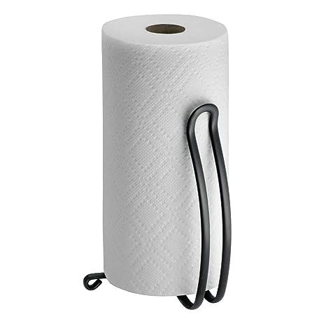 mDesign - Porta rollo de toallitas de papel, para mesadas de cocina - Negro mate