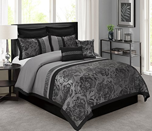 8 Piece Tang Jacquard Fabric Patchwork Comforter Set Queen King CalKing Size (Queen, Gray) (Nice Comforter Sets)