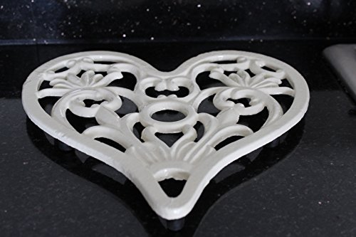 Cast Iron Heavy Duty Large Heart Trivet (Cream)