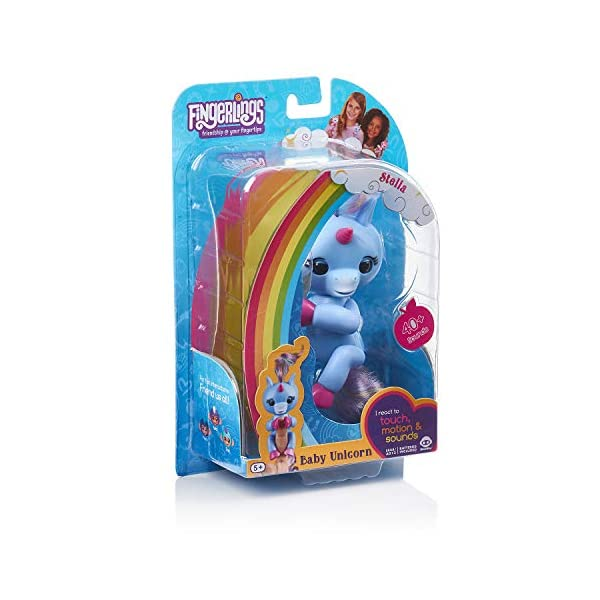 Fingerlings Baby Unicorn - Stella (Periwinkle Blue with Rainbow Mane & Tail) - Friendly Interactive Toy by WowWee, One Size 6
