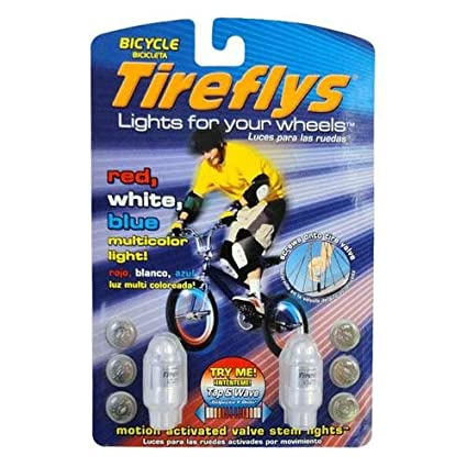 Tireflys Motion Activated Valve Stem Lights- Red, White and Blue (Set of 2