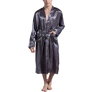 0d6f6d05222a4 FY Hommes Couple Kimono Japonais Robes de Chambre Tuniques Peignoir de Bain  Longue Imitation Satin de