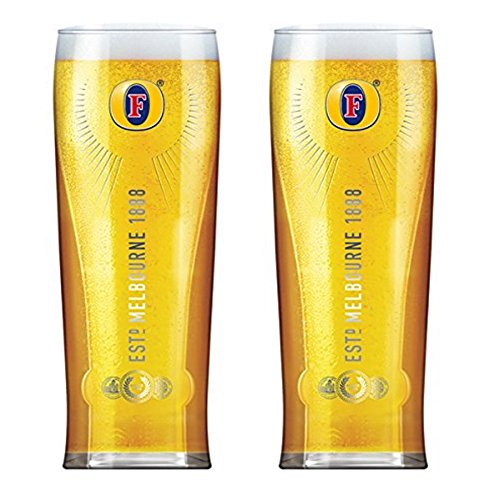 Fosters Lager (Fosters Official Lager Beer Glass Clear Tall Pint 570ml 19 fl oz Set of 2)