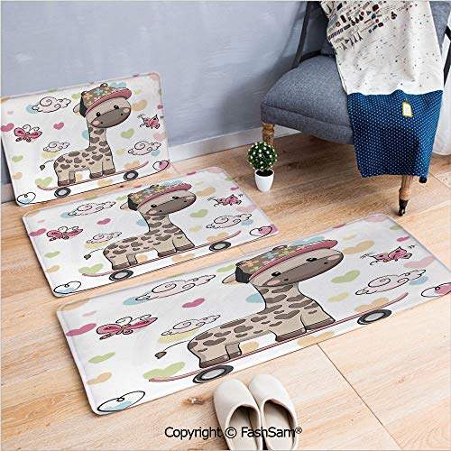 (3 Piece Non Slip Flannel Door Mat Cute Cool Giraffe Wearing Cap on a Skate Board with Butterflies Fun Colorful Hearts Print Decorative Indoor Carpet for bath Kitchen(W15.7xL23.6 by W19.6xL31.5 by W15.)