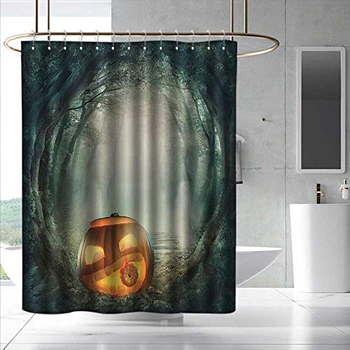 (Halloween Small Shower Curtain Drawing of Scary Halloween Pumpkin Enchanted Forest Mystic Twilight Party Art Bathroom Curtain Washable Polyester W72 x L96 Orange)