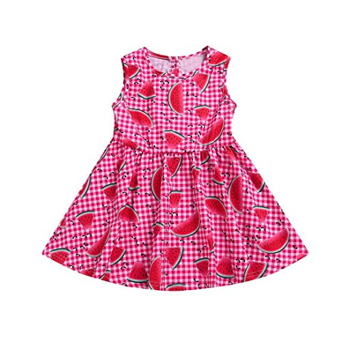 SMALLE◕‿◕ Children Kids Baby Girls Watermelon Print Stripes Sleeveless Outfits Dresses Red ()