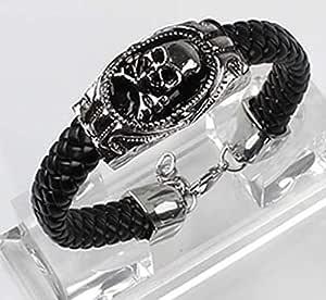 Bracelets broad engraved leather Black color with slice Skull on it item No 875 - 1