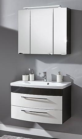 ensemble de meuble de salle de bain de 3 pices malema 80cm en anthracite blanc