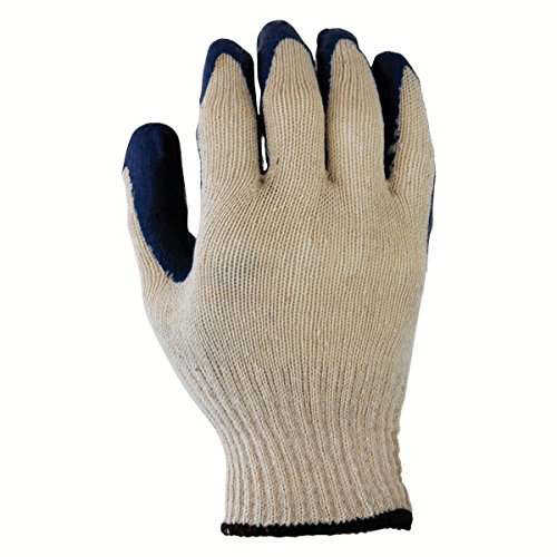 Azusa Safety L22110B 10 gauge Poly/Cotton Safety Gloves, Textured Blue Latex Coated, White/Blue, Large (1 Pair)