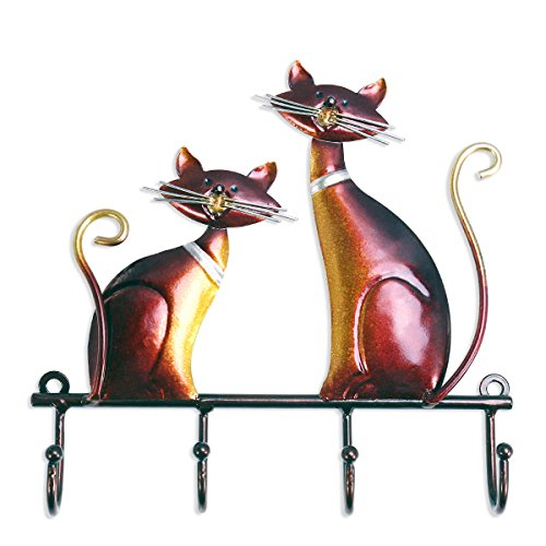 Cat Towel Holder - Tooarts Wall Mounted Key Holder Iron Cat Wall Hanger Hook Decor 4 Hooks for Coats Bags Wall Mount Clothes Holder Decorative Gift
