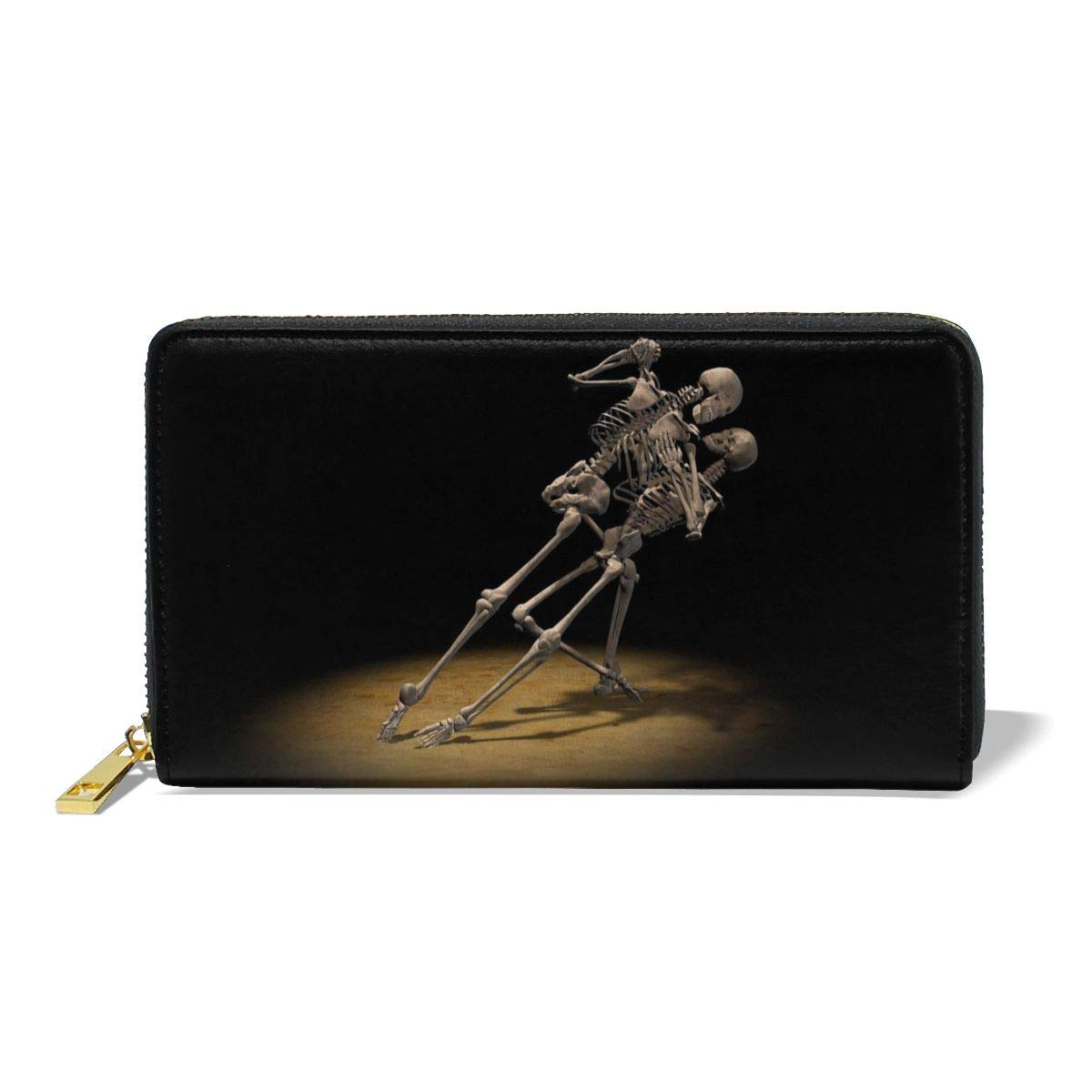 Women Genuine Leather Wallets Dance Skeleton Credit Card Holder Organizer Ladies Purse Zipper Around Clutch Cash Pocket by D-MUSE