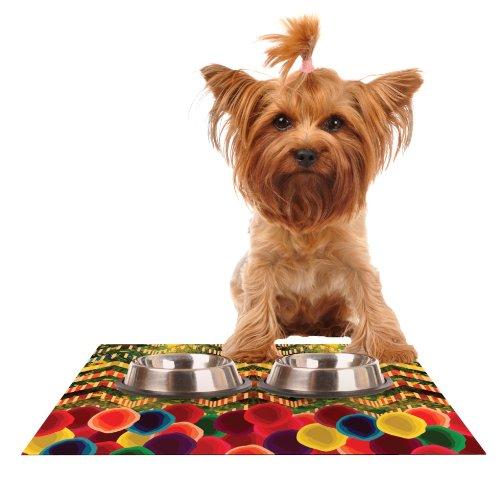 Kess InHouse Deepti Munshaw Chevron and Dots  Rainbow Feeding Mat for Pet Bowl, 18 by 13-Inch