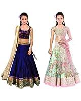 Market Magic World Girl's Banglori & Net Semi Stitched Kids Wear Lehenga Choli (MMW-09002_Blue & Pista_Free Size_8 to 12 year age)