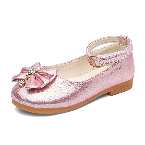CIOR Girls Ballet Flats Shoes Beaded Rhinestone Ballerina Bowknot Mary Wedding For Party Princess Dress From Merence, VGZ01,Pink,28 (Ballerina Princess Dress)