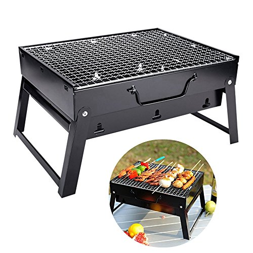 Charcoal BBQ Grill Stainless Steel Black Portable Folding Barbecue Grill for Outdoor Camping Cookoutsdoor Camping Cookouts (SG-MINI)