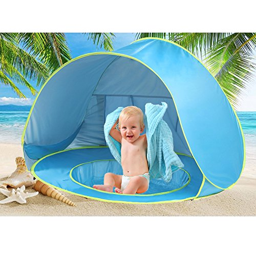 Pop Up Baby Beach Tent Portable Kiddies Shade Pool Tent 50 SPF UV Protection Sun Shelter Canopy for Infant (Blue)