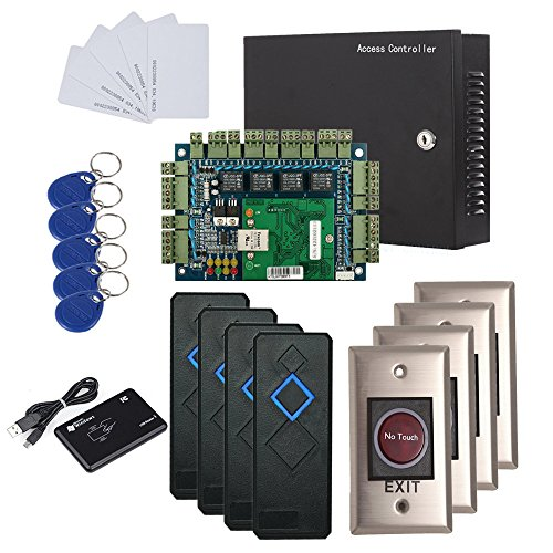 IP Based Security Door Access Control Kit with Metal Case 110V Power Box For 4 Doors RFID Reader+Infrared Exit Button+USB Enroll Reader+RFID Keychains/Cards by MENGQI-CONTROL