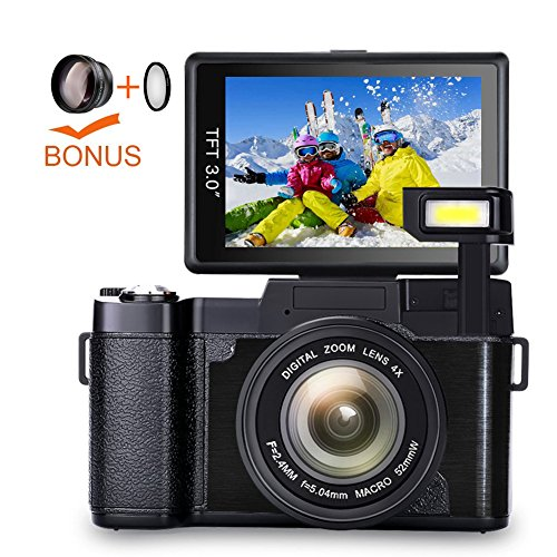 Digital Camera Camcorder Full HD 1080p Vlogging Camera 3.0 Inch Flip Screen 24.0 MP 52mm teleconverter lens camera 52mm close-up (Camcorder 52 Mm Lens)