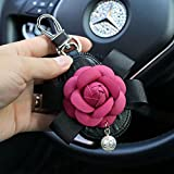 Follicomfy Camellia Pearl Flower Car Key Chain Bag Bowknot Car Smart Keyring Wallet and Auto Remote Key Fob,Rose Red Flower: more info