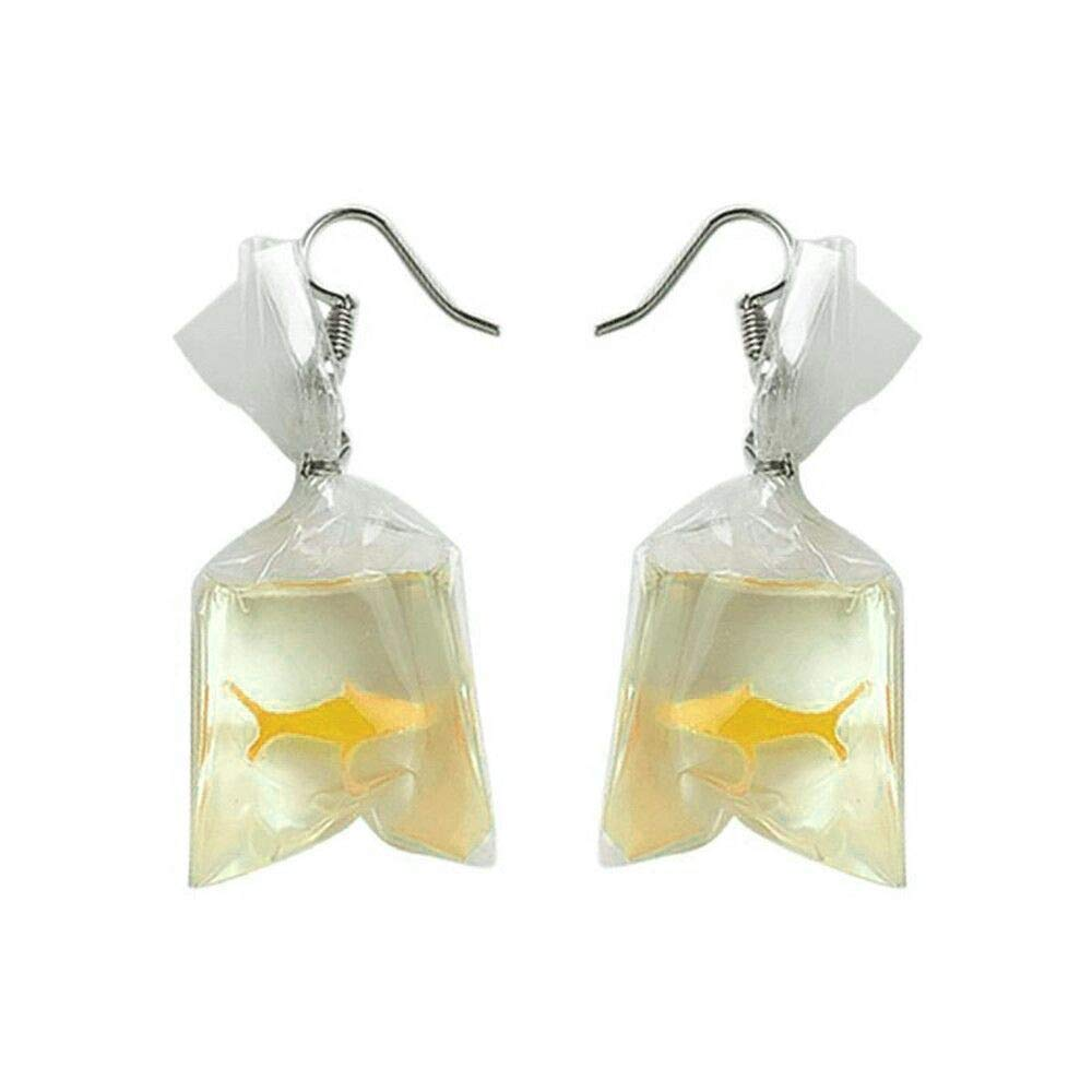 Clearance Earrings! Creative Funny Goldfish Water Bag Shape Dangle Hook Earrings Cute Charm Birthday Gift for Girls (Yellow)