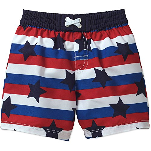 Price comparison product image OP Baby & Toddler Boys Americana Swim Shorts Trunks (0-3 Months,  Red,  White & Blue With Navy Stars)