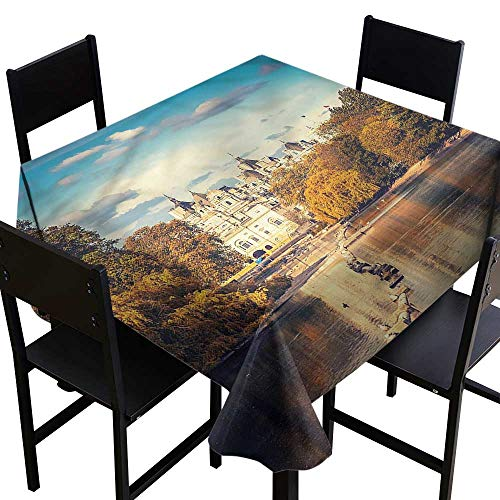 home1love London Spillproof Tablecloth Colored Baroque Heritage Dinner Picnic Table Cloth Home Decoration 54 x 54 Inch
