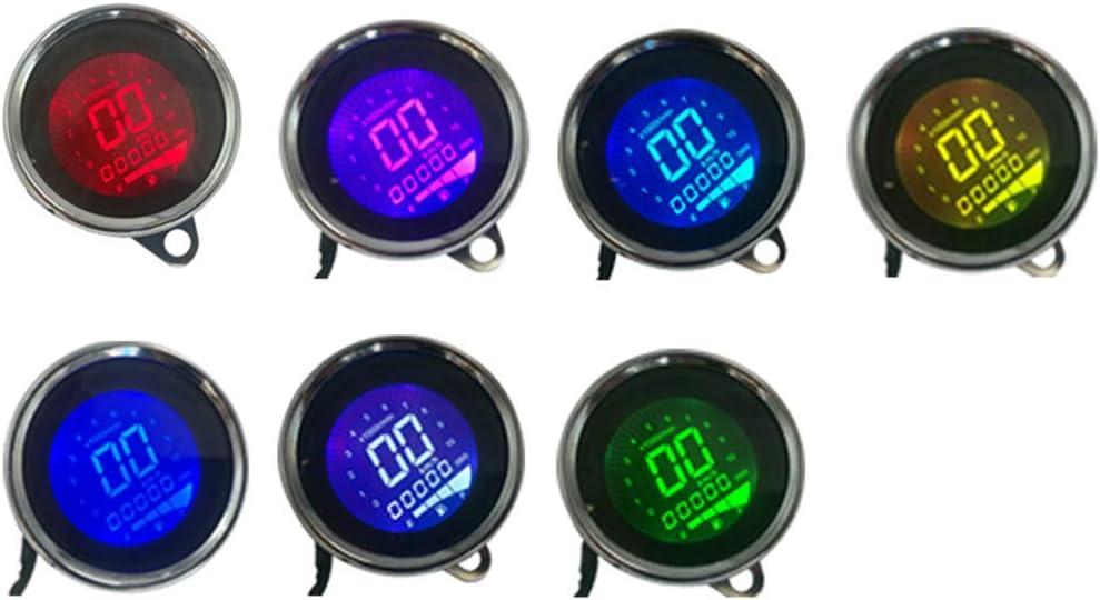 Motorcycle Tachometer 12V Universal LCD Digital Backlight Speedometer Odometer red bronze