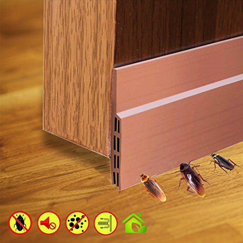 Weather Stripping Doors Bottom Seal Under Door Draft Stopper Energy Saver and Insulation Gap Sealer Noise Reduction Soundproof Dustproof Seals, 2 Width X 39 Length (Brown)