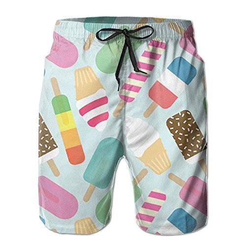 X-Large Ice Cream Fashion Beach Board Shorts Casual Surfing Running Classic-Fit Lightweight Beachwear Cargo Pants Print Swim Trunks