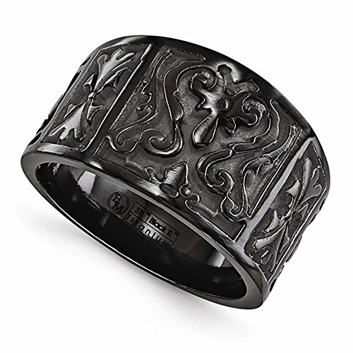 Edward Mirell Casted Black Titanium 14mm Wedding Band - Size 13 by Edward Mirell