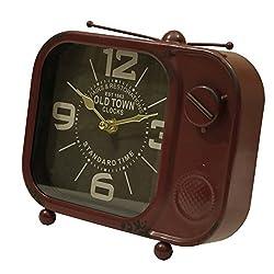 Retro Tv Table Clock Red