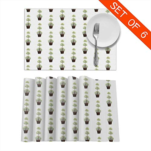 - GIxilijie Placemats Triple Ball Myrtle - Topiary Collection Heat Insulation Non Slip Plastic Kitchen Stain Resistant Placemat for Dining Table Set of 6