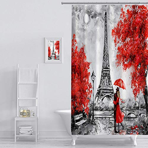 SZZWY Paris European City Shower Curtain Oil Painting Landscape France Eiffel Tower Black and White red Graphic Print Polyester Waterproof Coated Bathroom Decoration with Hook 71x71 inches Black -