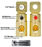 InstallGear 1/0 AWG Gauge Gold Ring Set Screw Battery Ring Terminals (4 Pack)