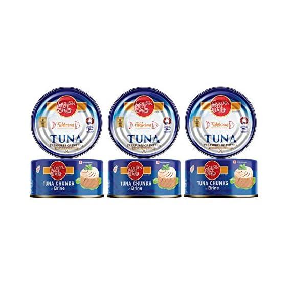 Golden Prize Tuna Chunk in Brine 185Gms Each - Pack of 3 Units